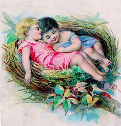 Vintage Clip Art Graphic – Sweet Children in Bird Nest