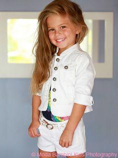 Pretty little girl with long hair and white denim, woo hoo!