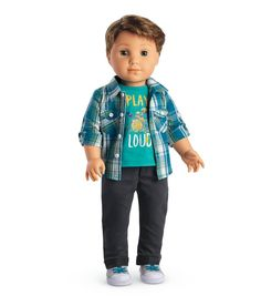 American Girl LOGAN EVERETT American Girl's First BOY Doll-Brand New The Logan doll has gray eyes that open and close, and short brown hair. Ropa American Girl, New American Girl Doll, Poupées Our Generation, 18 Inch Boy Doll, Boy Doll Clothes, Short Brown Hair, New Dolls, Dolls Dolls, Barbie Doll