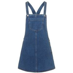 MOTO Denim Pocket Pinafore Dress - Topshop ❤ liked on Polyvore featuring dresses, pocket dress, pinny dress, denim pinafore dress, topshop dresses and pinafore dress