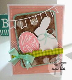 Card by Susan Liles. Reverse Confetti stamp set: More Than Jellybeans. Confetti Cuts: More Than Jellybeans, Double Banner Garland, and Wonky Scallop Border. Easter card. Spring card. Easter bunny.