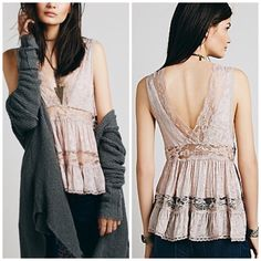 Free People Trapeze Cami Lightweight chiffon top flaunts sheer lace inserts and tiered panels for a feminine flair. Plunging V-neckline with scalloped trim. Sleeveless construction. V-back. Pull-on design. Flared hemline. 100% viscose; Trim: 100% nylon. Machine wash cold.  Mfg color;  Light Taupe.   /////NWOT///// Free People Tops Camisoles