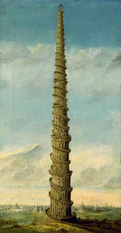 Tower of Babel. Franz Stieberich (active in Germany circa Sotheby's Bibliothèque Infernale on FB Turm Von Babylon, Tower Of Babel, The Tower, Ancient Near East, Fantasy Inspiration, Medieval Fantasy, Religious Art, Genius Loci, Amazing Architecture