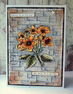 Kath's Blog......Tim Holtz Slate and Stone (background) + Illustrated Garden (flower)
