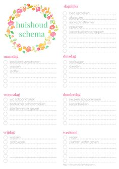huishoudschemaingevuld Wreck This Journal, My Journal, Diy Agenda, Kids Planner, Craft Images, Bullet Journal Inspo, Planner Organization, Printable Planner, Getting Organized
