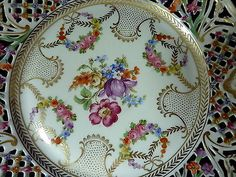 "Chateau Dresden Schumann Bavaria Germany Pierced 9 1 2"" Reticulated Plate | eBay"