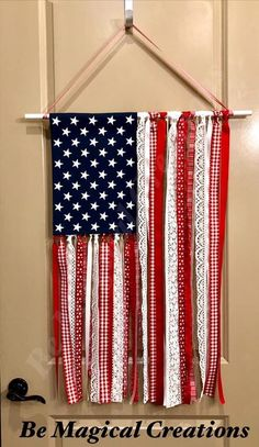 4th July Crafts, Patriotic Crafts, Recreational Therapy, Flag Garland, 4th Of July Celebration, Braided Rug, 4th Of July Decorations, Creative Crafts, Garlands