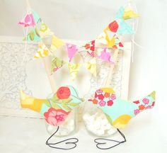Mini Wedding Cake Bunting AND Love Birds in by vintagegreenlimited