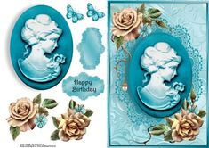 """Beautiful Aqua Cameo With Rose s on Craftsuprint designed by Amy Perry - Beautiful Aqua Cameo With Rose's in lovely aqua frame decoupage and choice of tag """"Happy Birthday"""" and a blank tag for your own sentiment - Now available for download!"""