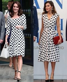 """The Duchess of Cambridge in Dolce & Gabbana at Wimbledon in July 2017 and Queen Letizia of Spain in Matilde Cano in San Antonio today 18 June 2018 . Which outfit do you prefer? The """"comparison"""" is just about their dresses! Beautiful Casual Dresses, Stylish Dresses, Latest African Fashion Dresses, Women's Fashion Dresses, Chic Dress, Classy Dress, Royal Fashion, Timeless Fashion, Floral Top Outfit"""