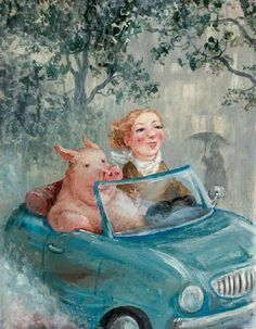 Rudi Hurzlmeier *Eber im Auto*,,,,,that pig makes me smile when ever I look at him