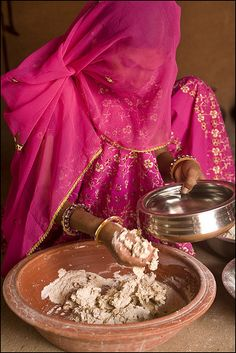 Kneading atta (dough) to make chapatis - an everyday practice in indian kitchens