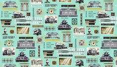 "Our exclusive ""Grand Central"" fabric in aqua, featuring a 24 inch repeat."