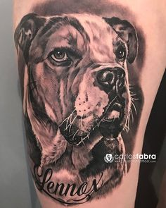"Tatuaje de ayer en la @internationaltattooexporome Gracias Marion por confiar en mi para hacer tu famoso ""Lennox"" Buen viaje a Alemania  #tat #tattoo #tattoos #dog #dogs #friends #friendship #love #bulldog #aloetattoo #internationaltattooexporoma #carlosfabra #cosafinatattoo"