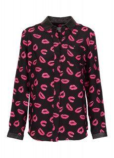 Print-Bluse mit Lederkragen in Schwarz-Pink