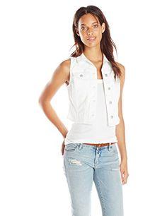 Jessica Simpson Womens Cortland Crochet Vest, White, Small