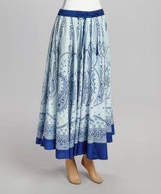 Another great find on #zulily! Blue & White Paisley Maxi Skirt #zulilyfinds