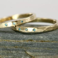 Diamond and 14k Gold Wedding Band Stackable 14k by ScarlettJewelry, $478.00
