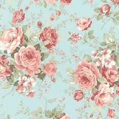 Margeaux~Large Roses on Aqua Floral Cotton Fabric by Robert Kaufman - Fast Shipping Vintage Floral Wallpapers, Vintage Flowers Wallpaper, Shabby Chic Wallpaper, Flower Wallpaper, Wallpaper Backgrounds, Paper Napkins For Decoupage, Decoupage Vintage, Cath Kidston Wallpaper, Shabby Chic Theme