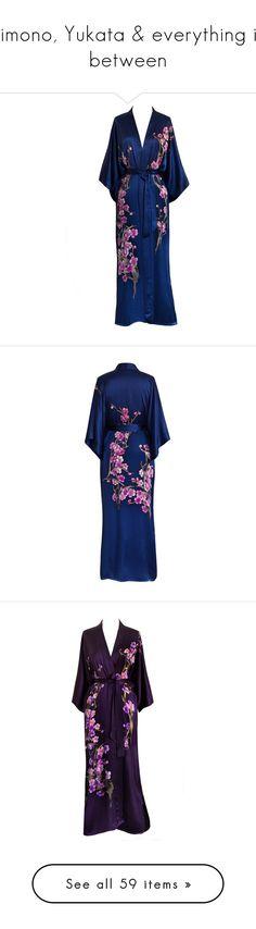 """""""Kimono, Yukata & everything in between"""" by caitlin-rosling ❤ liked on Polyvore featuring intimates, robes, silk kimono, kimono bathrobe, long robe, kimono dressing gown, long bath robe, long kimono robe, silk robe and robe kimono"""