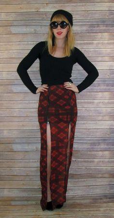 Evil Twin Plaidical Twin Zip Split Maxi Skirt