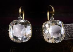 19th Century Large Victorian Paste Earrings, 14K, Converted...