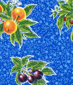 Blue Summer Fruit Oilcloth – Oilcloth Alley / oilclothalley.com