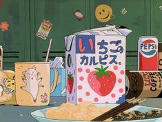 Anime, food, and kawaii Manga Anime, Anime Gifs, Old Anime, Fanarts Anime, Anime Art, Aesthetic Themes, Retro Aesthetic, Aesthetic Anime, Psychedelic Art