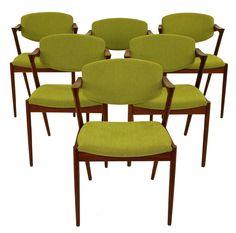 Set of Six Danish Modern Dining Chairs Designed by Kai Kristiansen