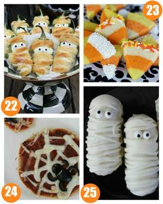 Halloween Food Crafts for Kids on Frugal Coupon Living. Classroom Snack Ideas, spooky food for kids, and October snack ideas. Halloween Jalapeno Popper Mummies, Candy Corn Sugar Cookies, Halloween Spider Web Pizzas and Halloween Twinkie Mummies Halloween Food Crafts, Kids Food Crafts, Halloween Snacks, Halloween Kids, Halloween Spider, Halloween Goodies, Halloween Activities, Halloween 2017, Halloween Stuff