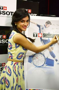 Kriti Sanon cut a cute picture at a Tissot event. #Style #Bollywood #Fashion #Beauty