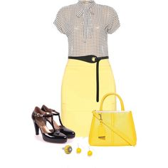 Office outfit: Yellow - White - Black by downtownblues on Polyvore featuring Warehouse and Nero Giardini
