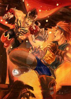Devil Jin Vs Hwoarang by Murtiyasa on DeviantArt Tekken X Street Fighter, Jin Kazama, Ninja Gaiden, King Of Fighters, Fighting Games, Boba Fett, Mortal Kombat, Comic Art, Devil