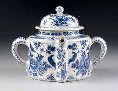 Posset pot, Netherlands, Late 17th or early 18th century. Tin-glazed earthenware painted in blue  Museum no. 3841-1901  Celebration and Commemoration. Drinking alcohol has long been associated with celebration, but many traditions have disappeared. Posset was a nourishing warm drink of eggs, sugar, milk and breadcrumbs. Decorative posset pots were brought out for celebrations such as a wedding, Christmas or harvest feast.