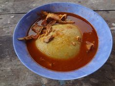Fufu (variants of the name include foofoo, fufuo, foufou) is a staple food with deep roots in Ghana's history and common in many countries of West Africa and the Caribbean. It is often made with cassava flour.[1] Other flours, such as semolina, maize flour or mashed plantains may take the place of cassava flour. Fufu, served alongside soup, usually groundnut soup, is a national dish of Ghana.