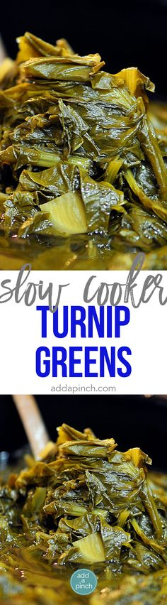 Slow Cooker Turnip Greens makes easy work of a favorite Southern dish. Perfect for busy weeknights or Sunday suppers!