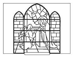 Coloring Book: The Annunciation (stained glass) Children's Church Crafts, Catholic Crafts, Catholic Kids, Kids Church, Xmas Crafts, Colouring Pages, Coloring Books, Greek Crafts, San Gabriel