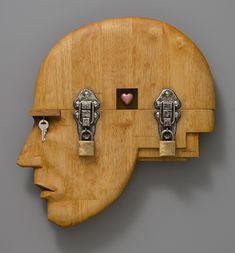 Vault by John Morris Wood, metal, found objects, paint 38 x x Arte Steampunk, Record Crafts, Small Sculptures, Human Art, Assemblage Art, Art For Art Sake, Wood Sculpture, Box Art, Wood Mosaic