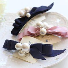 韩国进口 手工层次缎带蝴蝶结珍珠发夹弹簧夹