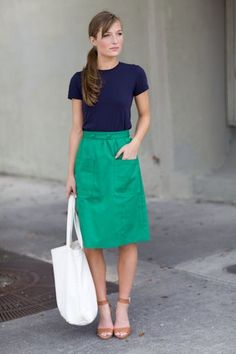 Comfy, cute and stylish- turquoise skirt, navy shirt, nude sandals