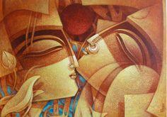 Indian Art Paintings, Modern Art Paintings, Cuban Art, Couple Painting, Ganesha Painting, Madhubani Art, Indian Folk Art, Krishna Art, Indian Gods