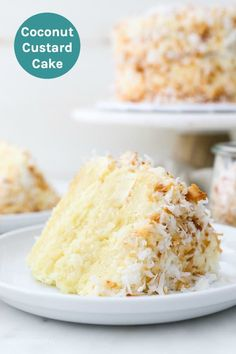 This Coconut Custard Cake is a vanilla cake flavored with coconut and layered with a decadent creamy coconut custard and frosted with cream cheese frosting. Cover this cake with shredded coconut for the ultimate coconut cake. Sweet Recipes, Cake Recipes, Dessert Recipes, Coconut Cake Frosting, Coconut Cakes, Lemon Cakes, 3 Layer Coconut Cake Recipe, Ultimate Coconut Cake Recipe, Coconut Muffins
