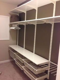 """Thinking of using wall bracket Algot along a wall in the sewing room. Drawers underneath (same as used in closet for fabric) and shelf above. Probably about 40"""" high with design wall up above. #closetsystem"""