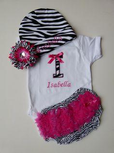 Personalized Monogram Zebra Onesie Ruffle Butt Bloomers Beanie Hat Baby Girl Set on Etsy, $47.00