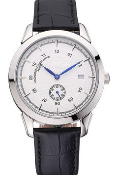 Replica Vacheron Constantin Traditionnelle White Ship Dial Stainless Steel Case Watch with Black Leather Strap