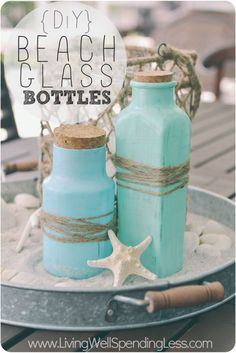 Looking for an easy craft project to do this summer? These DIY beach glass bottles are simple and make beaitfiul additions to any home! Jar Crafts, Bottle Crafts, Diy And Crafts, Bottles And Jars, Glass Bottles, Mason Jars, Patron Bottles, Painted Bottles, Blue Home Decor