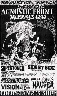 Agnostic Front, Murphy's Law, Raw Deal, Supertouch, Sick of it All ... punk hardcore flyer