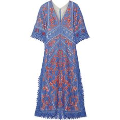 Tory Burch Michaella guipure lace-trimmed crocheted dress (26.385 ARS) ❤ liked on Polyvore featuring dresses, light blue, vintage boho dress, crochet dresses, light blue dress, bohemian dresses and slimming dresses