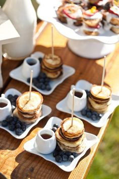 Partying until daybreak can trigger some serious breakfast cravings so treat guests to pancakes + syrup.