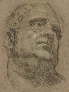 Jacopo Robusti, called Tintoretto (1519-1594), Head of Emperor Vitellius, Charcoal, heightened with white chalk, on blue paper faded to brown The Morgan Library & Museum, New York, Purchased as the Gift of Mr. and Mrs. Carl Stern, Photography: Graham S. Haber, 2012.